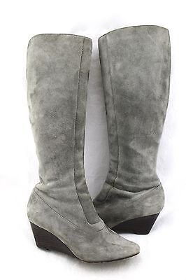 COLE HAAN Nike Air Gray Suede Leather Wedge Heel Knee High Boots 7.5
