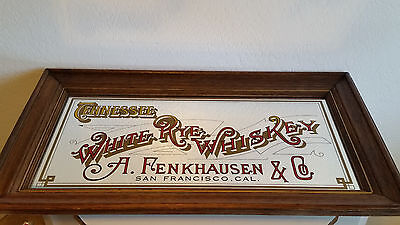 Vintage Tennessee White Rye Whiskey A Fenkhausen & Co Bar Mirror Sign