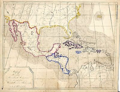 Antique 1862 HAND DRAWN FOLK ART MAP 8x11 MEXICO * CENTRAL AMERICA & WEST INDIES