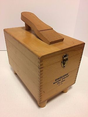 Vintage Esquire Wooden Dovetail Shoe Shine Valet DeLuxe Box ~ EUC