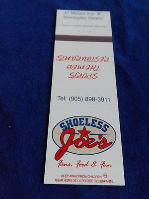 Matchbook Shoeless Joe'srestaurant Sports Bar Newmarket On Canada