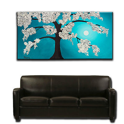 Large Original Painting - Textured Abstract Turquoise Silver - Challinor Art