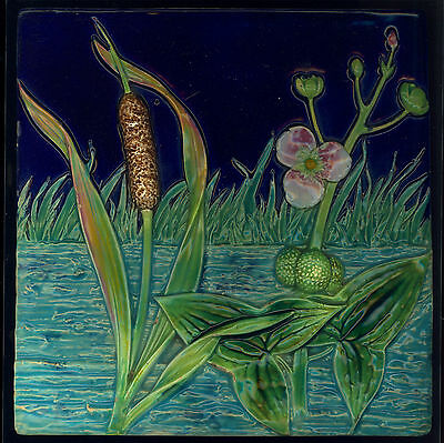 "Exceptional RARE MAJOLICA WATERLILLY and BULLRUSH 8"" tile GEORGE JONES 1870's"