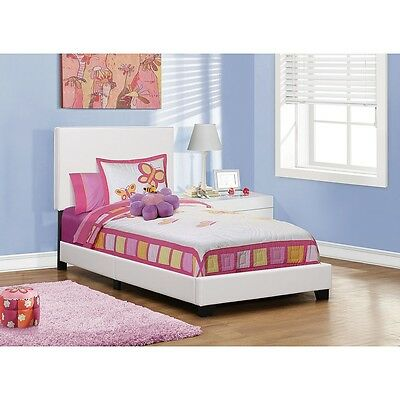 Monarch Leather Look Twin Bed - White