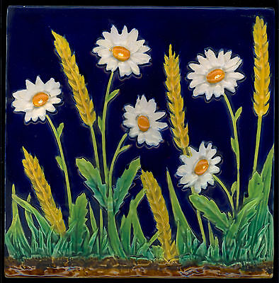 "Exceptional RARE MAJOLICA DAISIES and CORN 8"" tile GEORGE JONES 1870's"