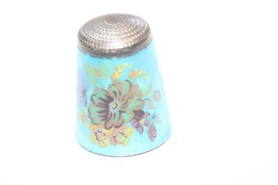 Solid Silver and Enamel thimble James Swann & Son flower pattern 1978