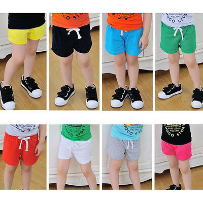Summer Kids Cotton Shorts Baby Boys Girls Candy Colours Clothing Shorts Kid TO