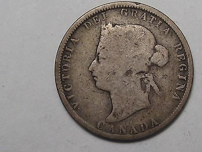 1881-H Silver Canadian 25 Cent Coin.  #1