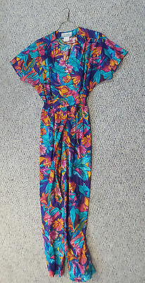Joan Walters Vintage Women's Floral Romper Made in USA Size 10 100% Cotton