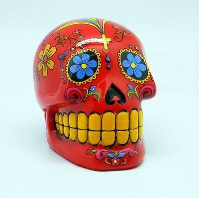 Red Sugar Skull Mexican Day of the Dead Coin Bank
