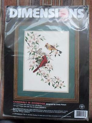 Dimensions Crewel Embroidery Kit CARDINALS IN DOGWOOD picture unopened