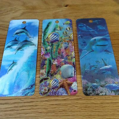 Set Of 3  3D Bookmarks. -  Dolphins / Tropical Fish / Sharks