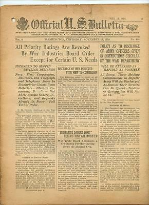 WWI Official US Bulletin Daily Newspaper November 21 1918 Casualty Lists