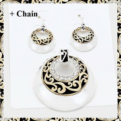 """Silver Gold Filigree Crystal Disc Pendant Earrings Set Necklace With 23"""" Chain"""