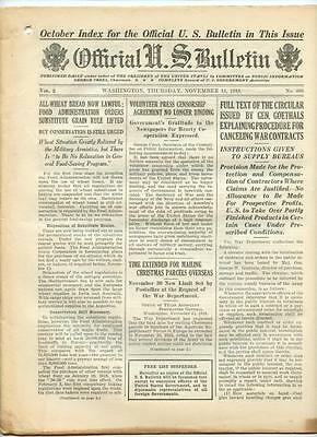 WWI Official US Bulletin Daily Newspaper November 14 1918 Casualty Lists