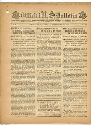 WWI Official US Bulletin Daily Newspaper September 10 1918 Casualty Lists