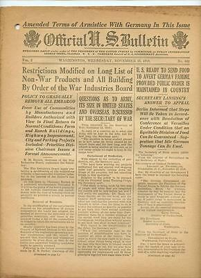 WWI Official US Bulletin Daily Newspaper November 13 1918 Casualty Lists