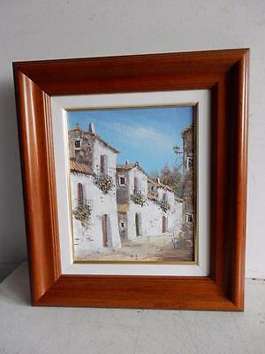 really old PAINTING oil street landscape signed