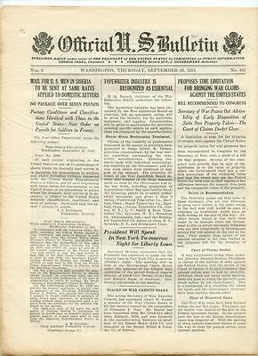WWI Official US Bulletin Daily Newspaper September 26 1918 Casualty Lists