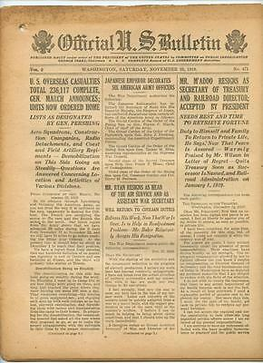 WWI Official US Bulletin Daily Newspaper November 23 1918 Casualty Lists