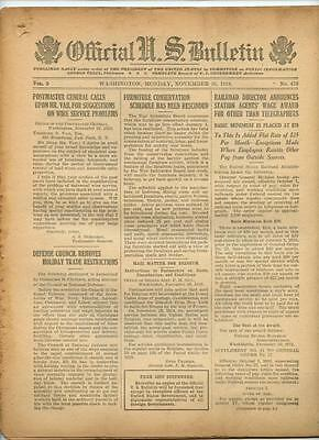 WWI Official US Bulletin Daily Newspaper November 25 1918 Casualty Lists