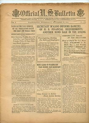 WWI Official US Bulletin Daily Newspaper November 27 1918 Casualty Lists