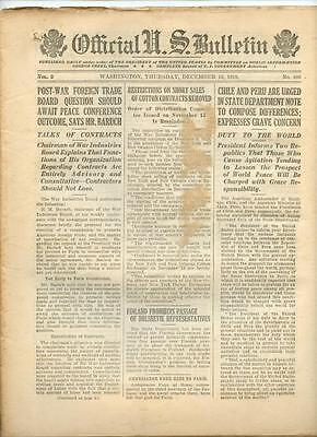 WWI Official US Bulletin Daily Newspaper December 12 1918 Casualty Lists