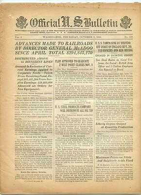 WWI Official US Bulletin Daily Newspaper October 3 1918 Casualty Lists