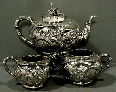 Chinese Export Silver Tea Set     DRAGONS                         Weighs 46 OZ