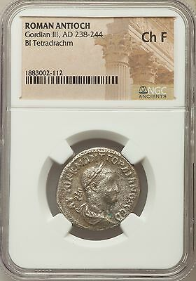 Roman Antioch Gordian III AD 238-244 Bl Tetradrachm NGC Ancients Ch F