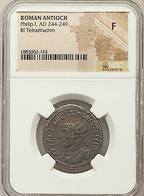 Roman Antioch Phillip I AD 244-249 Bl Tetradrachm NGC Ancients F