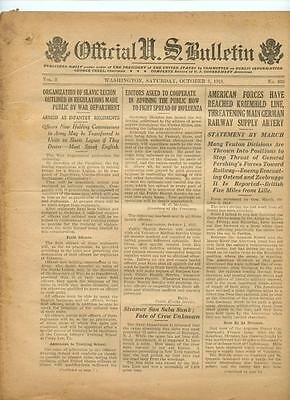 WWI Official US Bulletin Daily Newspaper October 5 1918 Casualty Lists