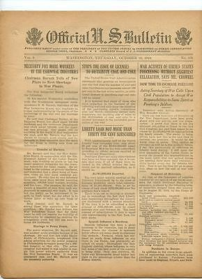 WWI Official US Bulletin Daily Newspaper October 10 1918 Casualty Lists