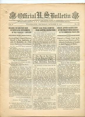 WWI Official US Bulletin Daily Newspaper October 17 1918 Casualty Lists