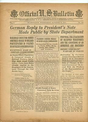 WWI Official US Bulletin Daily Newspaper October 23 1918 Casualty Lists