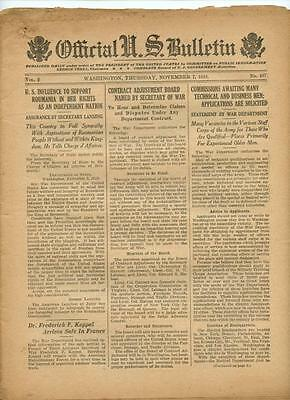 WWI Official US Bulletin Daily Newspaper November 7 1918 Casualty Lists