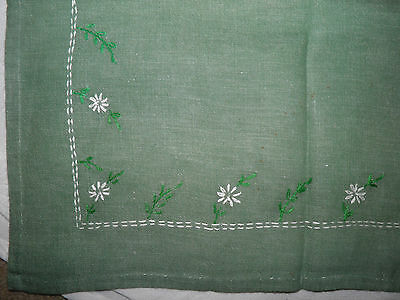 "Vintage Green Card Tablecloth 34"" x 35"" - Green White Floral Embroidery"