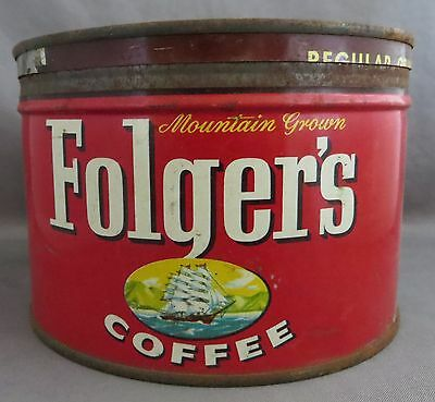 Vintage Folger's Coffee Can Tin 1 lb -copyright 1959 - Wind Key opening