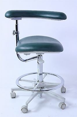 "Brewer Asst. Dental Stool w/ Green Vinyl Upholstery & 22-31"" Height Adjustment"