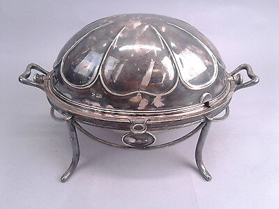 """ANTIQUE M H & CO 14.5"""" Silver Plate 3pc Roll Top Dome Breakfast Tureen Warmer"""