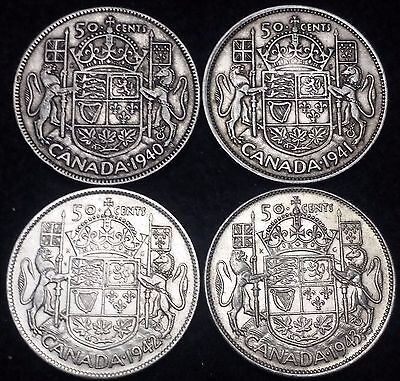 Lot of 4 Canada Silver 50 Cents Half Dollars - 1940 to 1943 - 80% Silver Coins