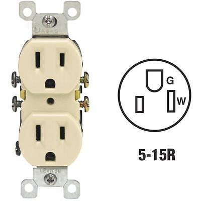 10 Pk Leviton 15A Ivory Shallow Grounded NEMA 5-15R Duplex Outlet S01-05320-0IS