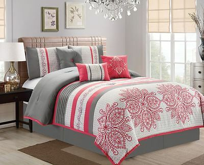 11 Piece Floral Medallion Stripe Pink/Ivory/Gray  Bed in a Bag Set