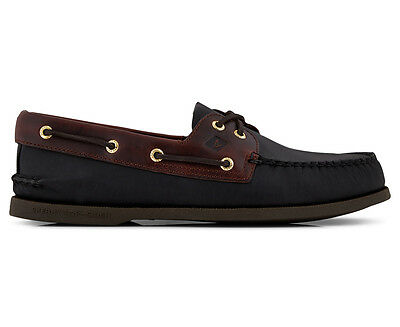 Sperry Men's Leather A/O Boat Shoe - Black/Amaretto