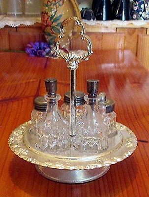 Vintage England Plated Glass Cruet Set  / Condiment Set on Chrome Turntable