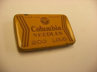 Phonograph Victrola Gramophone Needle Tin Columbia - 200  Needles Yellow - Empty