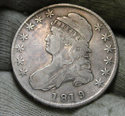 1819 Capped Bust Half Dollar 50 Cents - Nice Coin, Free Shipping (6019)