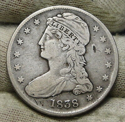 1838 Capped Bust Half Dollar 50 Cents -  Nice Coin Free Shipping (6041)
