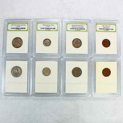 90% Silver 1948 Year Set includes Quarter, Dime, Nickel and Penny