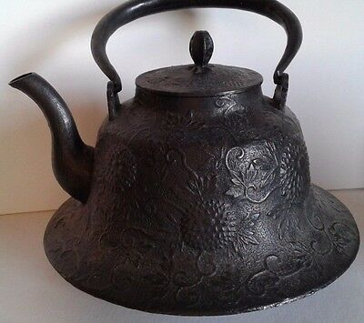 ANTIQUE Ornate Japanese Extra Large Cast Kettle